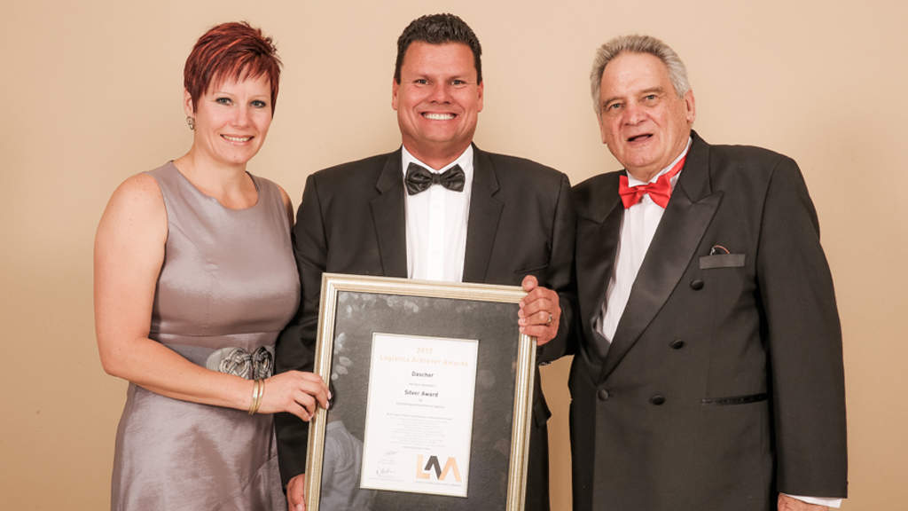 Samantha DuToit, Communications, PR & Marketing Manager, Detlev Duve, Managing Director DACHSER South Africa and Charles Dey, Chairman of Logistics Achiever Awards (left to right)